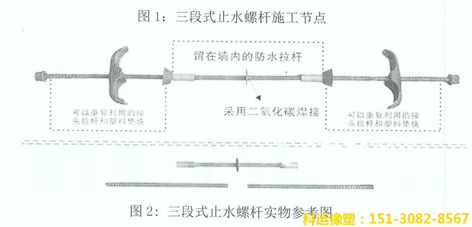 三段式对拉止水螺杆-衡水科运国标三段式穿墙防水丝杆螺栓厂家4